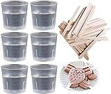 Leeq - 50 bicchieri graduati, in plastica trasparente, da 30 ml, con 50 bastoncini di legno per mescolare vernice, smalto, resina epossidica