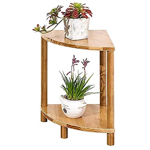 N/Z Home Equipment Brown Wood Pflanzständer Freistehender 2-stufiger Eckregalständer 2-stufiger freistehender Pflanzenständer Eckblumentopfhalter Displayregalständer Naturholz/Honig (Größe: 60x70cm)