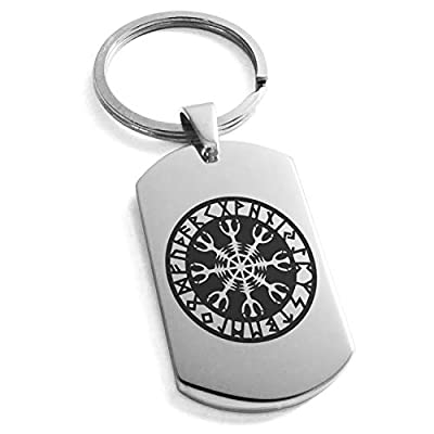 Tioneer Stainless Steel Helm of Awe Viking Norse Symbol Dog Tag Keychain Keyring