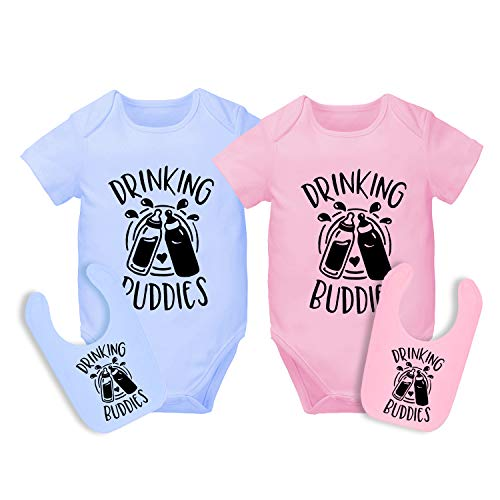AOUYOA Baby Twins Bodysuit Drinking Buddies Baby Girl Clothes Baby Boy Twins Outfit Hat Set(YO Old 3m)