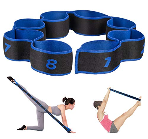 Agoer Cinghia Elastica da Yoga Pilates Fascia Stretching Regolabile da Ginnastica Esercizi con 8 Fiocchi