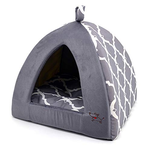 Linen Tent Bed for Pets - Gray Lattice,...