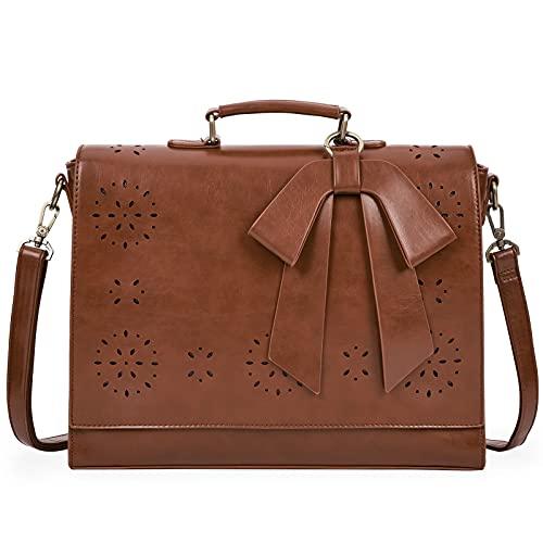 ECOSUSI Bolsas de Mensajero para Mujer Maletín de portadocumentos Cuero de PU portátil con Hombro Desmontable Bolso de maletín Profesor Mujer para Portátil de 14