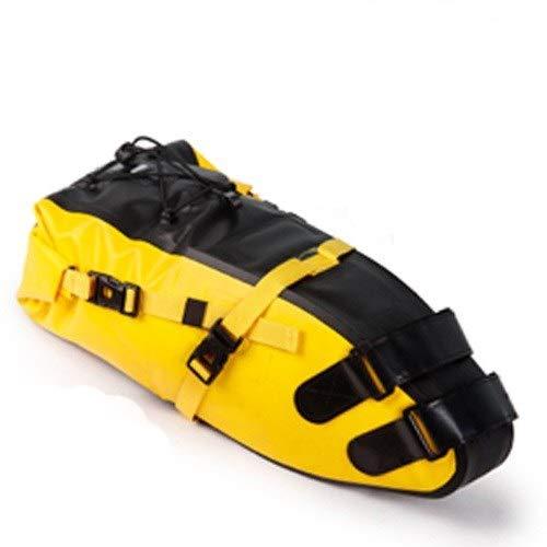 NDJPN 自転車防水自転車サドルバッグリフレクティブ・大容量折り畳み式のテールリアバッグサイクリングMTBトランクパニエブラック (Color : 10L Yellow)