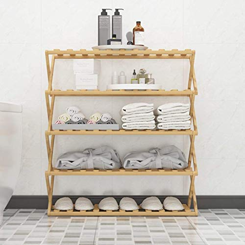 DXMRWJ Zapatero Plegable de bambú Natural, Zapatero Moderno de 5 Niveles, Estante Grande para Entrada, Pasillo, Sala de Estar, baño (Color: 100 cm)