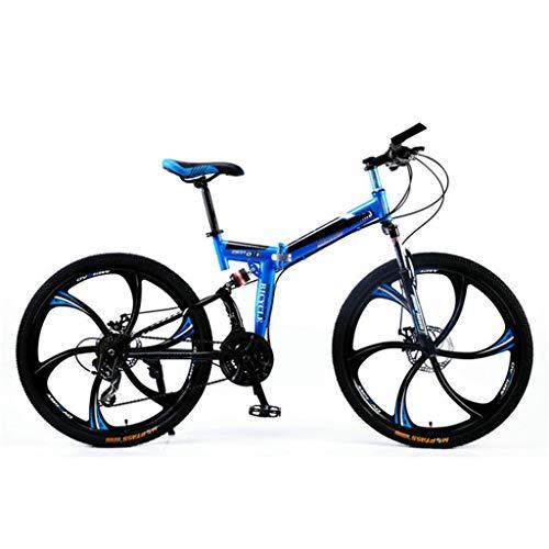 Mountainbike vouwfiets volwassene van full dual suspension, 21-speed blue van 24 minuten 26 inch wiel