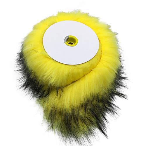 Furryvalley Cinta de piel sintética de raza de zorro para zapatillas con flecos de 2 yardas (amarillo dorado)