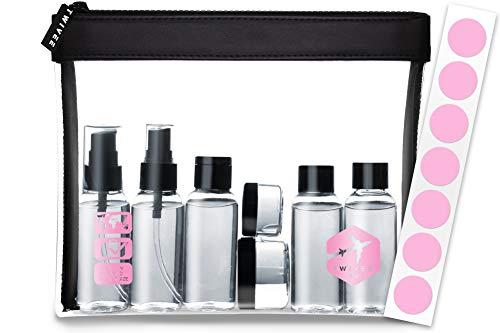 TWIVEE - borsa da toilette trasparente con set di bottiglie da viaggio - 1 litro - set da viaggio - unisex - set da viaggio trasparente - liquidi per il bagaglio a mano