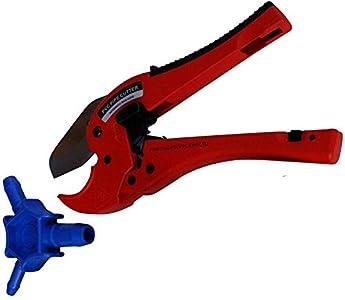 Juego de calibración de tubos de plástico para cortar y biselar tubos PEX de varias capas Calibrador automático de cortatubos de tubos compuestos de aluminio con biselado para tubos PEX, PE, PERT de 16 mm, 20 mm, 25 mm