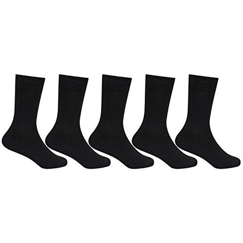 Bonjour Black Plain School Socks for Kids- Pack of 5