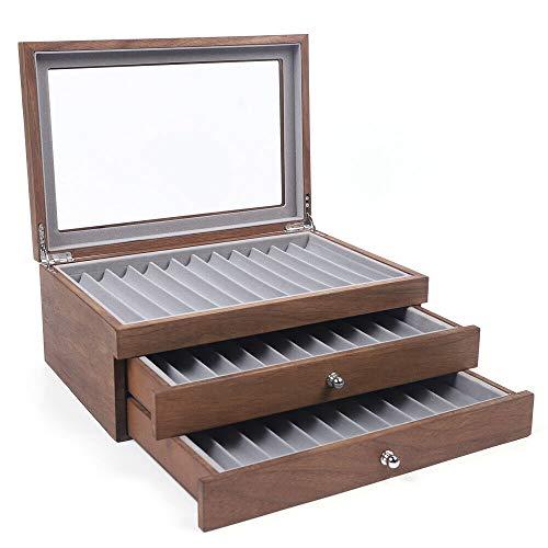 Caja organizadora de 34 ranuras para lápices y bolígrafos, con cristal transparente, vitrina, madera de palisandro/nogal (color nogal)