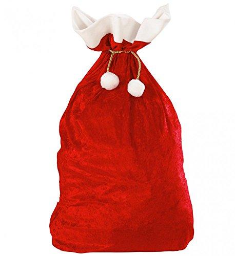 Shoperama - Sacco Babbo Natale in velluto, 60 x 100 cm, motivo: Babbo Natale