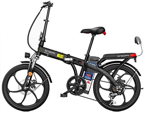 Bicicleta, bicicleta eléctrica plegable, bicicleta eléctrica de 20 pulgadas con batería de iones de litio extraíble 48V, 3 modos de trabajo, ebike con motor 250W (color: blanco, tamaño: 150km)