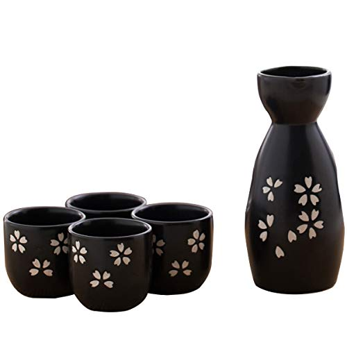 LTLWSH 5 Piezas de Licor japonés, Set de Porcelana, Tazas de cerámica Tradicionales, Manualidades Copas de Vino,Negro