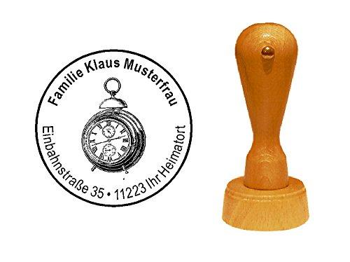 Stempel houten stempel motiefstempel « horloge wekker » met persoonlijk adres - tijd horlogemaker uurwerk tijdmeter
