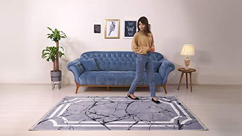 BESYILDIZ KALiTE HALI Designer Teppich Modern Wohnzimmer Esszimmer Schlafzimmer Bordüre Hochwertig Meliert Kurzflor bedruckter Stones Grau