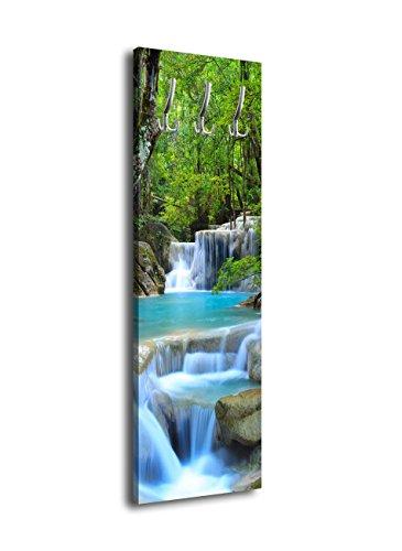 wandmotiv24 Garderobe mit Design Wasserfall im Wald G371 40x125cm Wandgarderobe Fluss Bäume Wasser