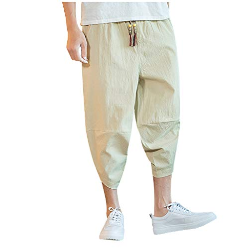 New Men's Harem Capri Pants | Men Plus Size Wide Leg Loose Fit Yoga Workout Jogger Solid Color Rel...