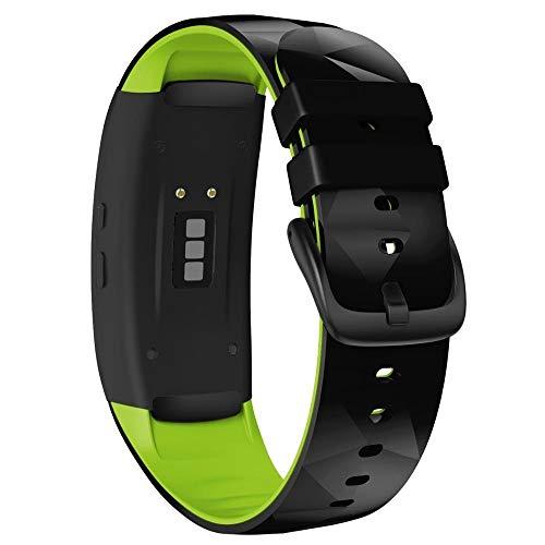 Correa Reloj Compatible para Gear Fit 2 Pro Correa Silicone Fitness Watch Band Correa Reloj Inteligente (Band Color : Black Green)