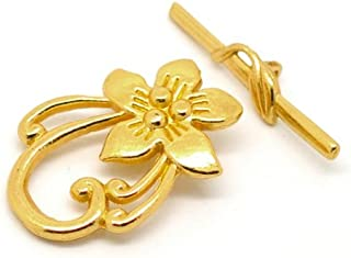 10 Sets Gold Tone Bracelet Clasps Lily Flower Toggle - Findings, DIY Crafts, Jewelry Making