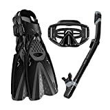 Ertong Scuba Diving Gear Swimming Combo Set Waterproof and Anti-Fog Snorkel Mask+Adjustable Freediving Swimming Fins/Flippers+ Breathing Tube for Adults (Black, ML/XL(Adult US Size 9-13))