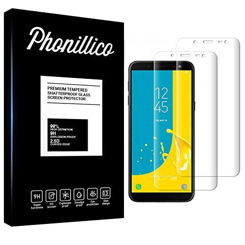PHONILLICO [Pack de 2] Verre Trempe pour Samsung Galaxy J6 2018 SM-J600 - Film Protection 100% Intégral Ecran Verre Trempe Resistant [Lot de 2] Vitre Protecteur Anti Rayure Transparent