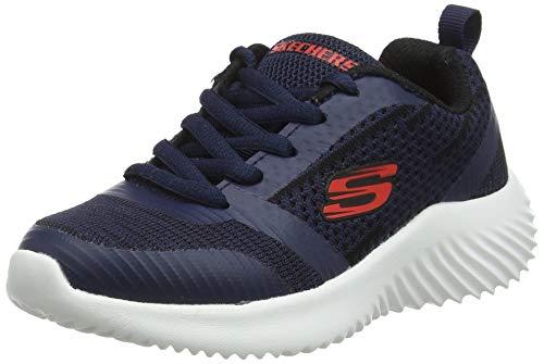 Skechers Bounder, Scarpe da Ginnastica Bambino, Blu (Navy & Black Textile/Red Trim Nvbk), 33 EU