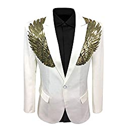 White Wedding Sequin Wing Stage Jacket