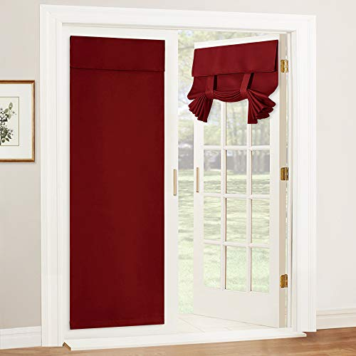 RYB HOME Window Curtains for Bedroom - Double French Door Sidelight Curtains Light Block Curtain Draperies for Glass Door Kitchen Tricia Door, 26 inch Width x 69 inch Length, 2 Panels, Burgundy Red