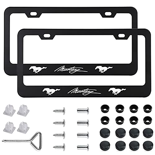 2pcs License Plate Frames for Mustang - 2 Holes Premium Black Aluminum Alloy Metal Mustang Car License Plate Tag Holders with Screw Caps Compatible All American Standard Auto License Plate Covers