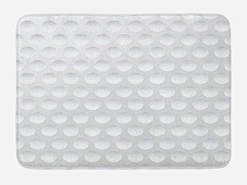"Lunarable Grey Bath Mat, Atrsy Circle Rounds Design Spherical Golf Balls Club Recreation Sports Hobby Themed Image, Plush Bathroom Decor Mat with Non Slip Backing, 29.5"" X 17.5"", White"