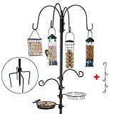 Bird Feeding Station Kit Bird Feeder Pole Wild Bird Feeder Hanging Kit Planter Hanger Multi Feeder Hanging with Metal Suet Feeder Bird Bath for Attracting Wild Birds (Black Bird Feeding Station Kit)