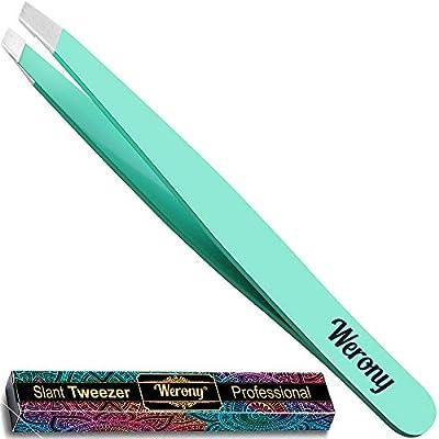 Tweezers for Women - Slant Tweezers - NEW COLOR - Premium Tweezers Precision - Professional Eyebrow Tweezers - Durable Tweezer for Facial Hair Removal and Brow Shaping - Perfect gift (green) by Dullko