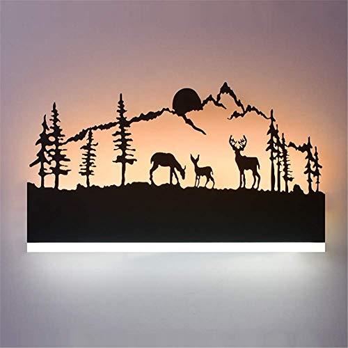 Lámparas de pared industriales, rectángulo negro, bosque y ciervos, lámpara de pared LED regulable, temperatura de 3 colores, acabado de pintura mate, talla hueca para hotel, hogar, sala de