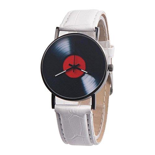 Winkey Armbanduhr, Unisex, Retro-Design, Lederband, Analog, Legierung, Quarzuhrwerk, Weiß