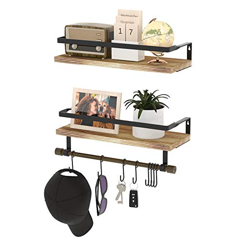 hanging shelf with hooks Wall Shelves with Hooks, HuTools Set of 2 Floating Shelf for Bathroom Wall Mounted with Towel Bar for Kitchen Living Room Bedroom Coffee Bar