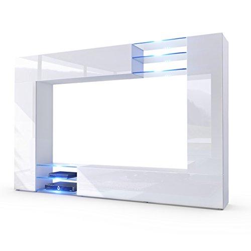 Vladon Wohnwand Anbauwand Mirage, Korpus in Weiß matt/Fronten in Weiß Hochglanz inkl. LED Beleuchtung