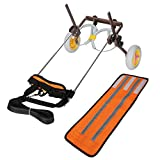 Silla de Ruedas de 2 Ruedas para Perros y Mascotas, Carrito Auxiliar de Aluminio Azul Oscuro para Patas traseras(Naranja)