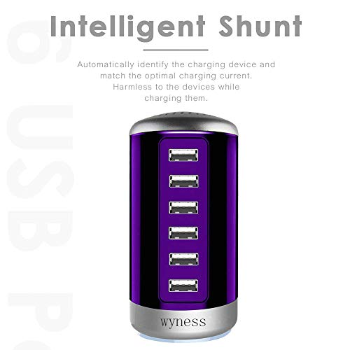 6 Ports Desktop Charging Station,USB Hub Fast Wall Charger with QC 2.1,Compatible for Smart Phones, Tablets, and Other Electronics (Purple)