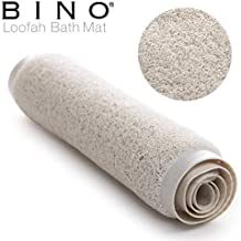 BINO Loofah Non-Slip Bath Mat for Tub, Ivory - Quick Drying Mildew Resistant Cushioned Mat with Suction Cups