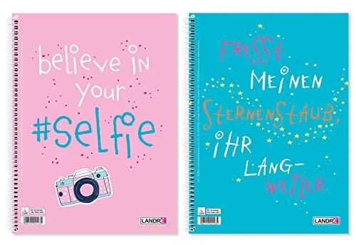 Landre 400130283 - Cuaderno con dos frases divertidas, 10 unidades, A4, 80 hojas cuadriculadas con margen a izquierda y derecha
