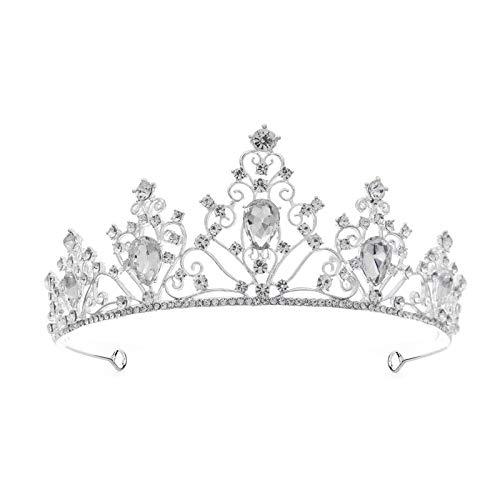 NLEI Wedding Prom Bridal Crown Rhinestone Crystal Decor Headband Veil Tiara (Sliver)