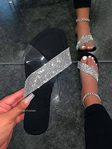 XLBHSH Sandalias de Mujer con Pedrería, Planas,Sandalias de Playa, Zapatos de Verano,Negro,38