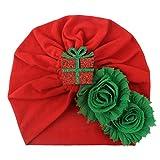 ZHANSANFM Weihnachten Kopfbedeckung Baby Mädchen Mütze Boho Hut Beanie Schal Turban Kopftuch Wrap Cap Big Blumen Kindermütze Babymütze Xmas Beanie Headwear-Kappe Schnee Hut