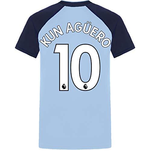 Manchester City FC - Camiseta Oficial para Entrenamiento - para Hombre - Poliéster - Azul Cielo/Cuello en V - Agüero 10 - XXL
