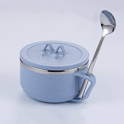 Bol Bol de riz pour enfants japonais 304 en acier inoxydable créatif japonais avec couvercle cuillère ou fourchette armoire de rangement -3 couleurs, 3 styles (Couleur : Sky blue, taille : Spoon)