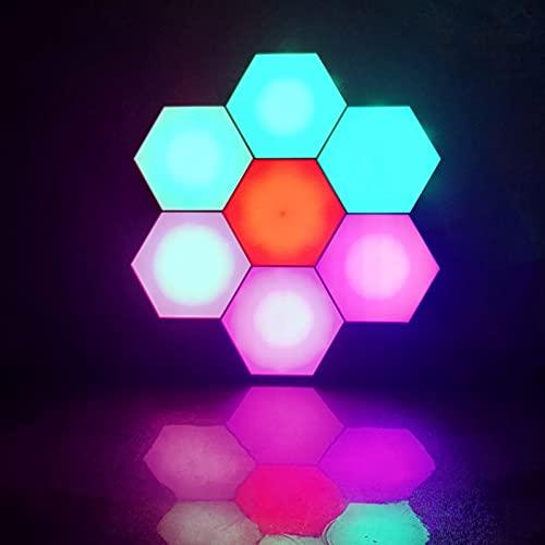 Aplique de Pared Hexagonal, Montaje en Pared Inteligente DIY Modular Geométrico Ensamblado Luces de Pared LED con USB Power, Usado en Dormitorio, Decoración de Sala de Estar, Regalos (Paquete de 6)