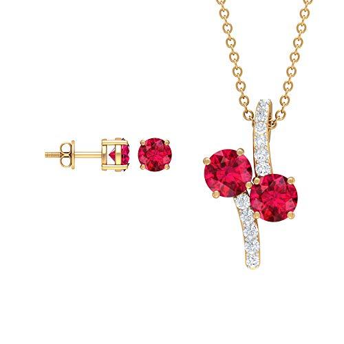 Ruby and Diamond Jewelry - Juego de pendientes y colgante de oro simple de 2,75 quilates, color rubí (5 mm, forma redonda) rojo