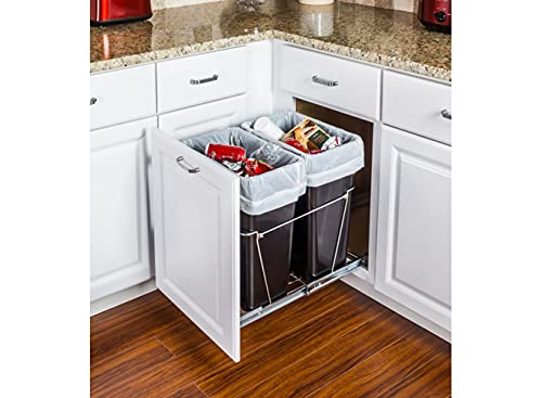 Hardware Resources Double 35-Quart Trash Bin Cabinet Pullout System - 2 Black Waste, Recycling Bins - Easy-Installation Polished Chrome Ball-Bearing Garbage Slider, Door Mounting Kit - 17.5 Gallons