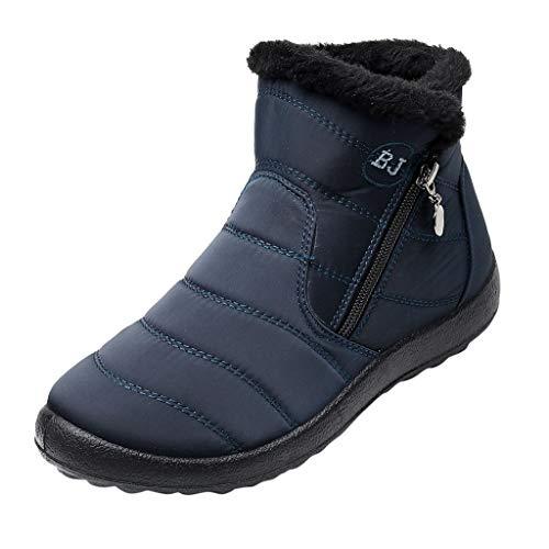 Botas de nieve impermeables para mujer, forradas, planas, antideslizantes, para invierno, cálidas, de terciopelo, con cremallera, para exterior, azul, 36 EU